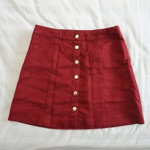 H&M Suede Maroon Button Down Mini Skirt 10